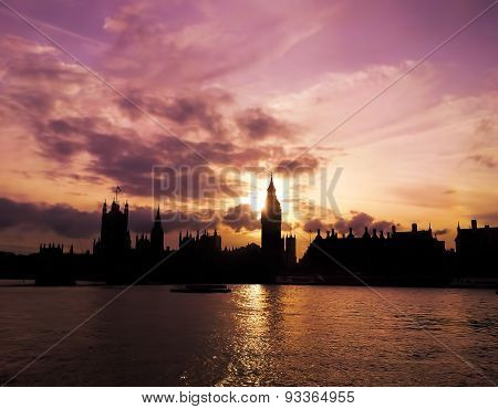 Sunset behind Big Ben