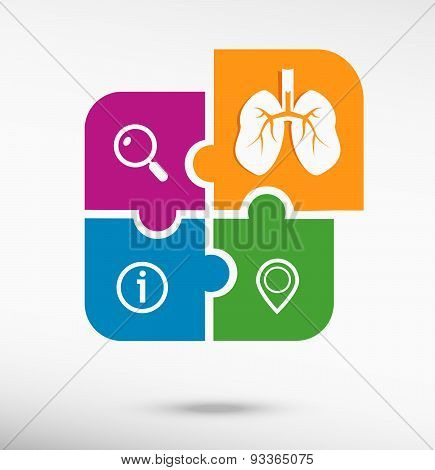 Lung Icon On Colorful Jigsaw Puzzle