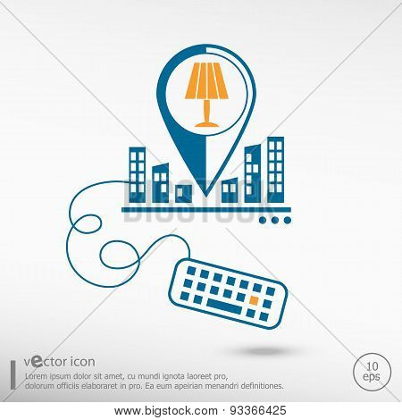 Table Lamp Icon And Keyboard