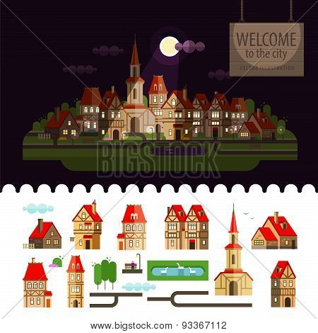 Night in the city. Set of elements - home, church, lake, trees, road, street, cottage, bench