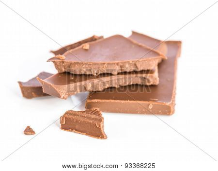 The Chocolate On White Background.
