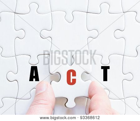 Last Puzzle Piece With Motivational Word Act