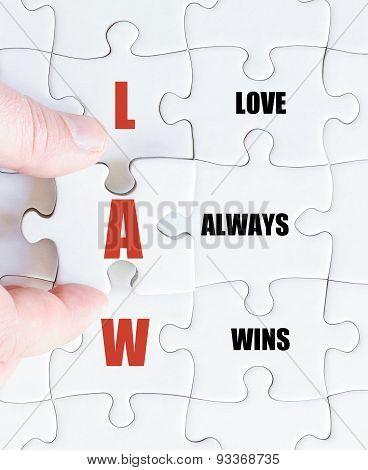 Last Puzzle Piece With Motivational Acronym Law