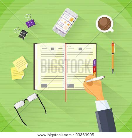 Businessman Hand Write Pen Notebook Desk Flat