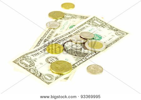 The Money On White Isolate Background.