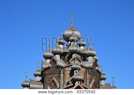 Church Of The Intercession In The Style Of Russian Wooden Architecture.