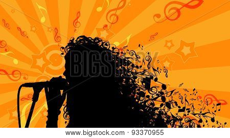 Silhouette of Womans head with Music Hair Background. Stock Vector Illustration