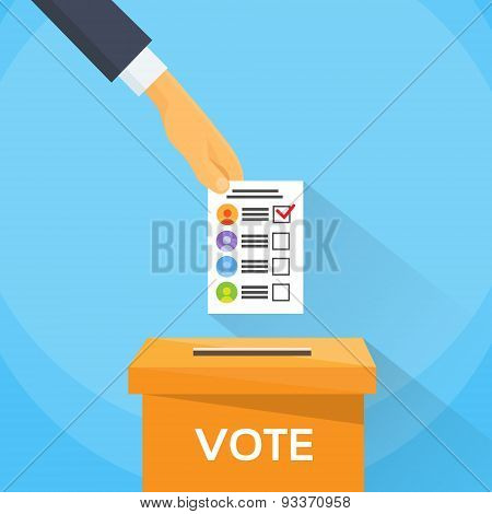 Vote Hand Putting Paper Ballot List in Voting Box