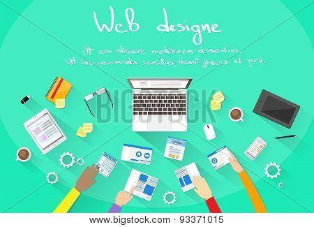 Web Development Create Design Site Building Team People Hands