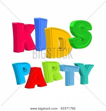 Kids party. Text of colored cartoony characters. Vector illustration