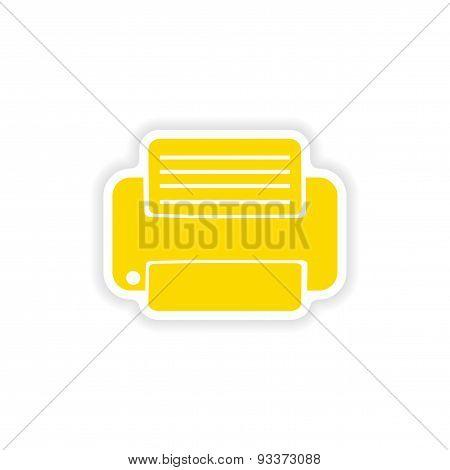 icon sticker realistic design on paper printer