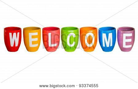 Welcome On White Isolate Background.
