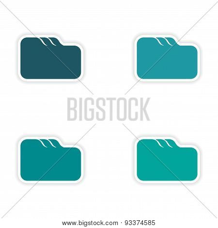 assembly realistic sticker design on paper file folder