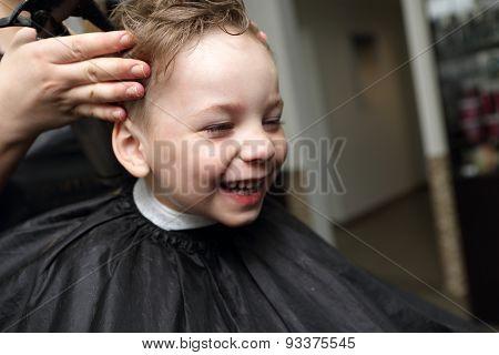 Laughing Boy At Barbershop
