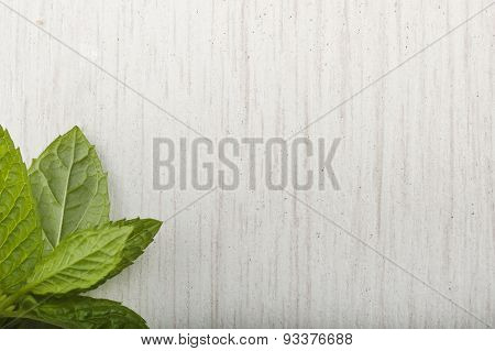 white wood and mint leaves