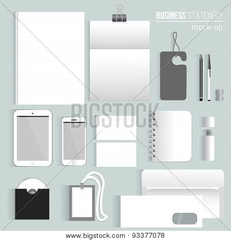 Vector clean Blank corporate identity set of Stationery Branding. Consist of letterhead, book, pen,