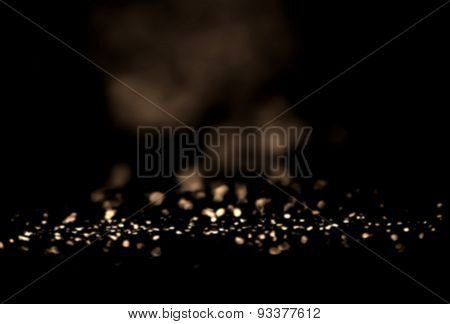 ..black And Gold Festive Abstract Background. Christmas Twinkled Bright Background With Bokeh Defocu