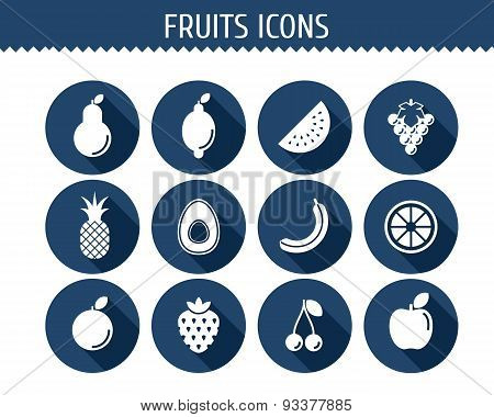 Vector Collection Of Fruits Flat Icons