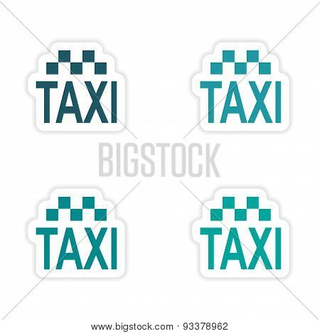 assembly realistic sticker design on paper taxi