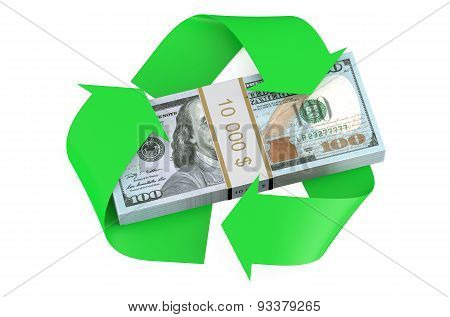 Dollars And Recycle Symbol