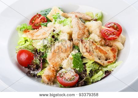 Restaurant Food Closeup - Salad With Roasted Chicken Fillet And Lettuce Mix