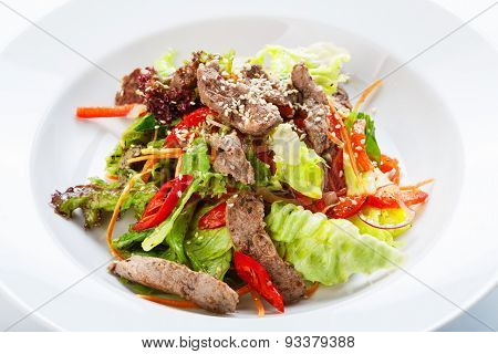 Restaurant Food -  Meat Salad With Roasted Beef And Vegetables