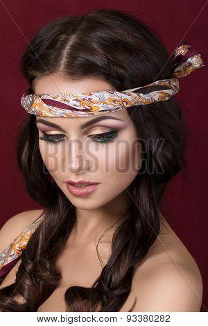 Portrait Of Beautiful Brunet Woman With Fashion Make-up