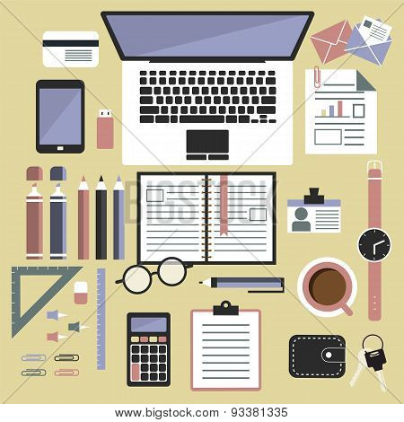 Vector illustration set of office and business work elements