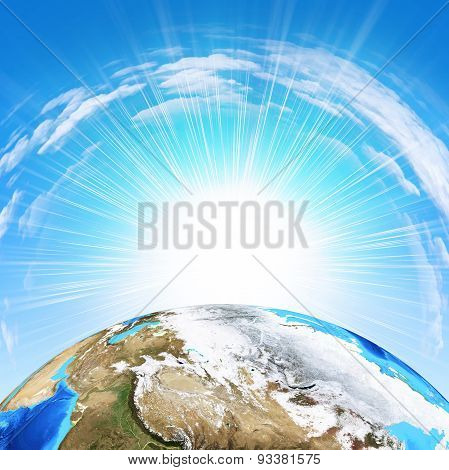 Earth on sky background