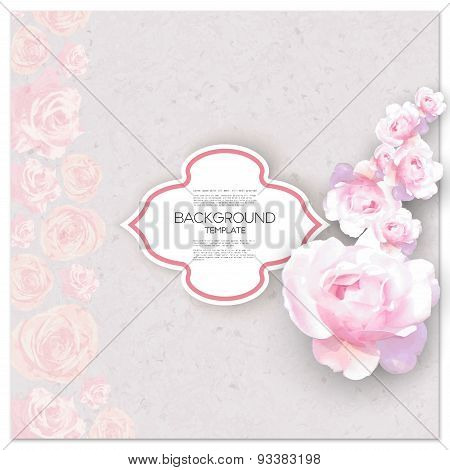 Marriage invitation card with place for text and pink flowers over canvas texture. Vector illustrati