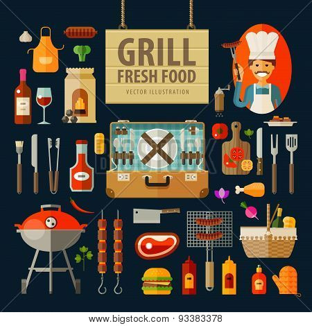 grill, barbecue icons set. set of elements - chef, kitchen tools, suitcase, ketchup, charcoal, bottl