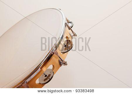 Horizontal Tambourine On Beige Background
