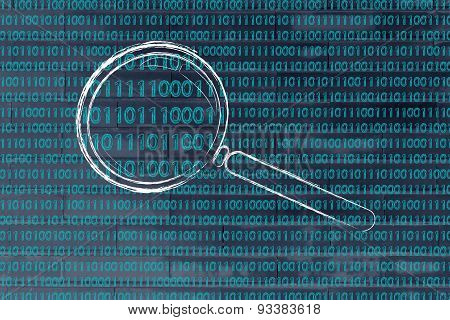 Magnifying Glass On Binary Code, Concept Of Pattern Recognition