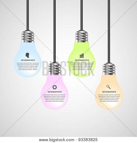 Creative 3D Light Bulb Infographics Design Template.