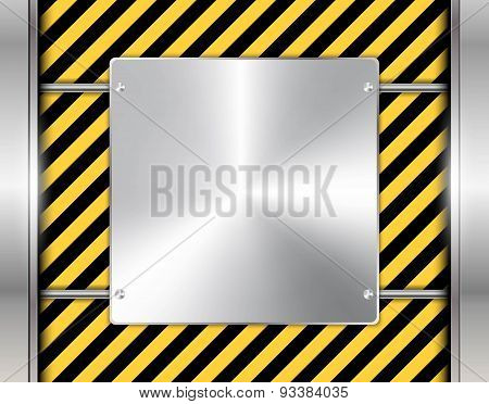Abstract Technology Background With Metallic Chrome Banner. Vector Illustration.
