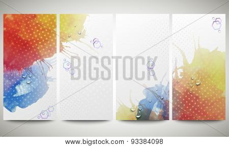 Abstract hand drawn watercolor background with empty place for text message. Colorful banners collec