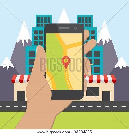 Flat Design Concept For Mobile Gps Navigation.