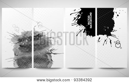 Abstract hand drawn watercolor gray-black background with empty place for text message. Monochrome b