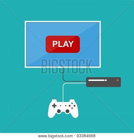 Flat Design Computer Games Concept.