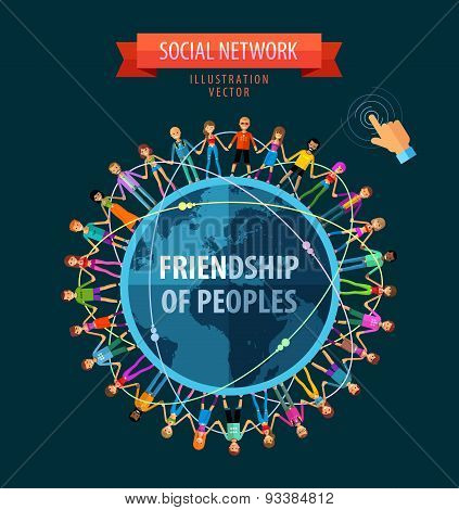friendship of peoples vector logo design template. people, folk or social network icon.