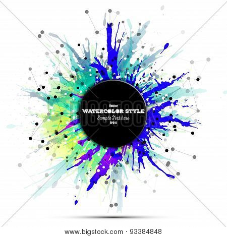 Abstract circle black banner with place for text. Colorful background, watercolor stains and molecul