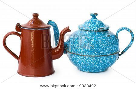 two enameled kettle