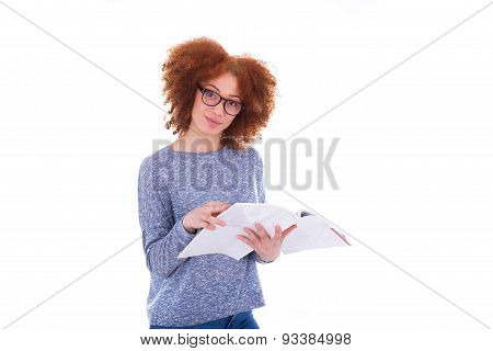 Black African American Student Girl Reading A Book