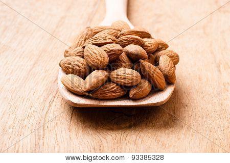 Almonds On Wooden Spoon