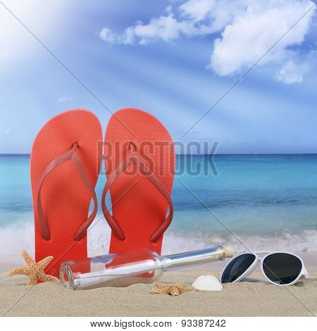 Beach With Flip Flops Sandals And Bottle Post In Summer Vacation Travel