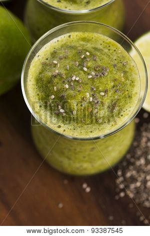 Healthy Green Fresh Fruit And Vegetable Juice Smoothie With Chia Seeds