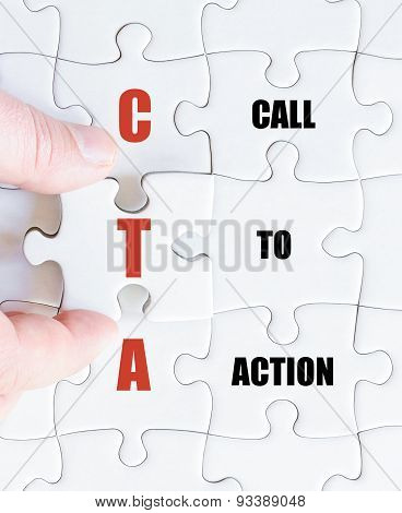 Last Puzzle Piece With Business Acronym Cta