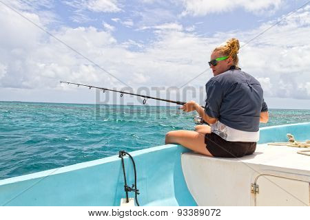 Woman Deep Sea Fishing