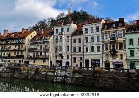 Old Town Embankment by Ljubljanica River