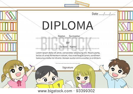Cartoon Kindergarten And Elementary School Children Diploma Certificate With Library Background Desi
